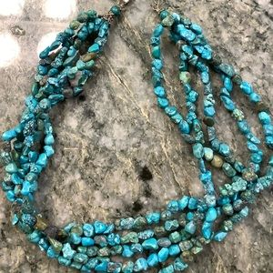 Faux turquoise 5 strand necklace
